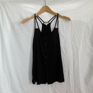 Old Navy Black Button Strappy Racerback Tank Top